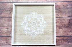 Drevená tácka s motívom hnedo-biela (40x40 cm)