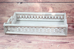 Drevená tácka - sivá (42x7,5x27,5 cm)