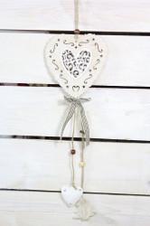 Drevené srdce na zavesenie (v. 46 cm) - hnedý
