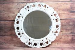 Drevené zrkadlo - biele (p. 47,5 cm)