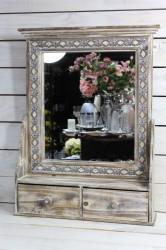 Drevené zrkadlo so šuflíkmi - hnedé (46x63,5x12 cm)