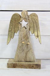Drevený anjel so zlatými krídlami na podstavci (v. 21 cm)