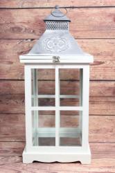 Drevený lampáš - bielo-sivý (v. 53 cm)