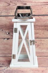 Drevený lampáš - bielo-strieborný (v. 30,5 cm)