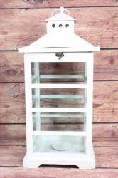 Drevený lampáš - biely (v. 53,5 cm)