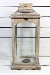 Drevený lampáš - hnedý (v. 53 cm)