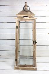 Drevený lampáš - hnedý (v. 88 cm)