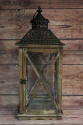 Drevený lampáš - hnedý VZOR 1. (v. 59 cm)