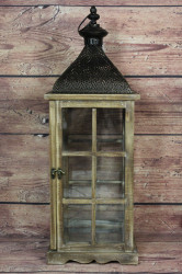 Drevený lampáš - hnedý VZOR 3. (v. 59 cm)