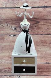 Drevený stojan na šperky BIELE ŠATY s 2 šuflíkmi (v. 31 cm)