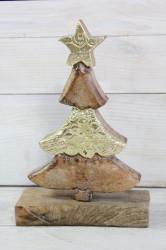 Drevený stromček so zlatými konármi na podstavci (v. 18 cm)