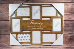 Fotorám FAMILY na 8 fotiek - hnedý (55x43,5 cm)