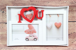 Fotorám na 2 fotky I LOVE YOU - bielo-červený (29,5x19,5 cm)