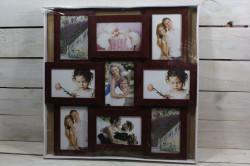 Fotorám na 9 fotiek (5 x 10x15 cm, 4 x 15x10 cm) - mahagónový