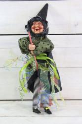 Ježibaba na zavesenie - zelené šaty
