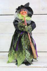 Ježibaba - zelené bodkované šaty (v. 25 cm)