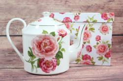 Keramická konvica (ENGLAND COLLECTION) v darčekovej krabici - kvety ružové