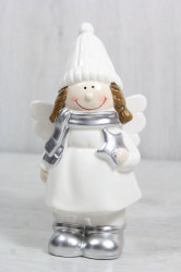 Keramická postavička ANJELIK v bielych šatách s hviezdou v ruke (v. 17 cm)
