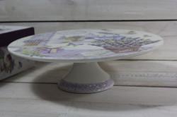 Keramická tácka na tortu s lyžičkou LAVENDER v darčekovej krabici (p. 30,5 cm)
