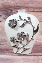 Keramická váza biela so striebornými ružami 1. (v. 22 cm)