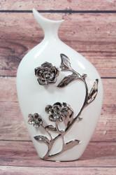 Keramická váza biela so striebornými ružami 2. (v. 30 cm)