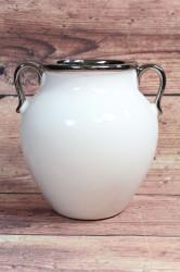 Keramická váza bielo-strieborná (v. 18 cm)