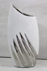 Keramická váza - bielo-strieborná (v. 29,5 cm)