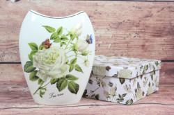 Keramická váza (ENGLAND COLLECTION) v darčekovej krabici - kvety biele (v. 20cm)