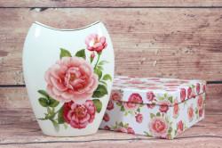 Keramická váza (ENGLAND COLLECTION) v darčekovej krabici - kvety ružové (v. 20cm)