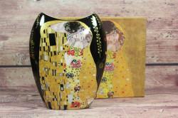 Keramická váza (GUSTAV KLIMT) v darčekovej krabici -čierna (v. 20 cm)