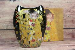 Keramická váza (GUSTAV KLIMT) v darčekovej krabici - čierna (v. 20cm)