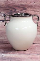 Keramická váza krémovo-strieborná (v. 17 cm)