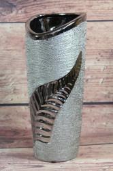 Keramická váza s LISTOM - strieborná (v. 27 cm) #1