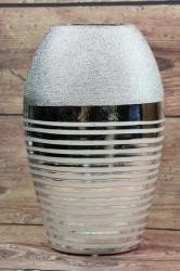 Keramická váza s pásom - strieborná (v. 26,5 cm)
