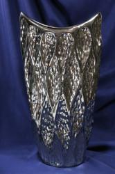 Keramická váza - strieborná (v. 40 cm) 1.