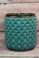 Keramická váza tyrkysovo-zlatá (v. 18 cm)