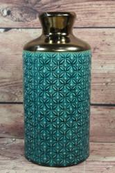 Keramická váza tyrkysovo-zlatá (v. 28 cm)