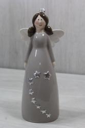 Keramický anjelik v sivých šatách s hviezdou (v. 21,5