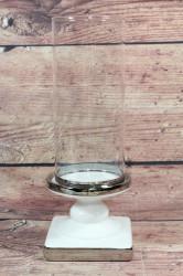 Keramický svietnik bielo-strieborná so sklom (v. 29 cm)