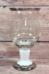 Keramický svietnik bielo-strieborný so sklom(v. 25 cm)