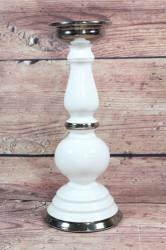 Keramický svietnik bielo-strieborný (v. 31 cm)