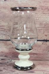 Keramický svietnik krémovo-strieborný so sklom (v. 22,5 cm)