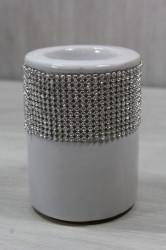 Keramický svietnik s kamienkami - biely (v. 10 cm, p. 4,5