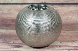 Keramický svietnik - strieborný (v.10 cm, p. 12 cm)