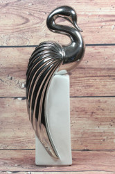 Keramický vtár - bielo-strieborný (v. 38,5 cm)