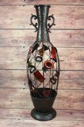 Kovová váza s motívom (v. 76 cm)