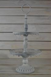 Kovový stojan na zákusky - biely (v. 53 cm)