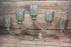 Kovový svietnik na 5 sviečok - arabský (v. 32,5 cm)