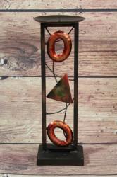 Kovový svietnik s motívom (v. 30cm, p. 10 cm)