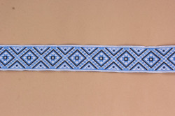 Krojová stuha (š. 2,8 cm) - modro-biela